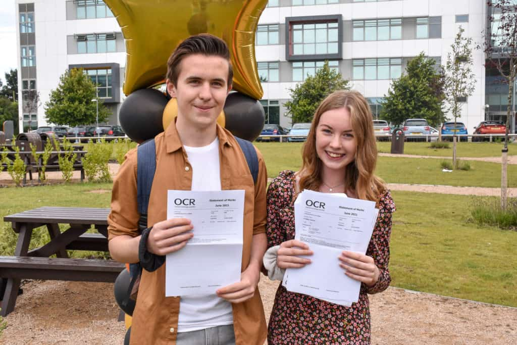 Lowestoft Sixth Form students Liam Coote and Rhianna Sturman with their results. Photo Lowestoft Sixth Form