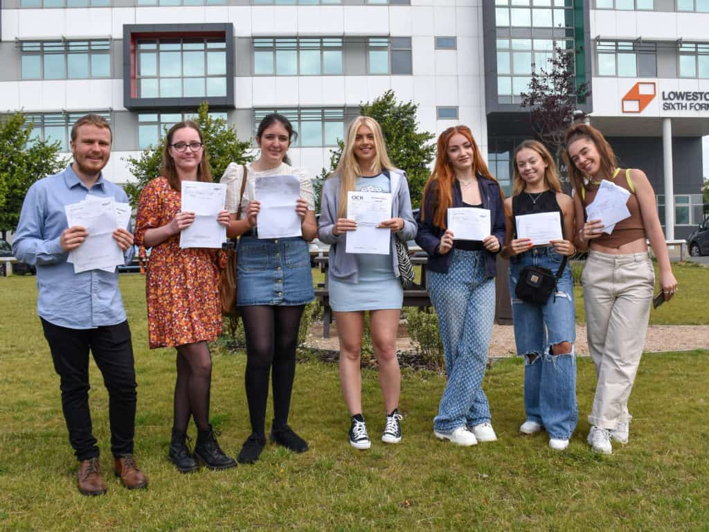 Lowestoft Sixth Form students celebrating their results. Photo Lowestoft Sixth Form.